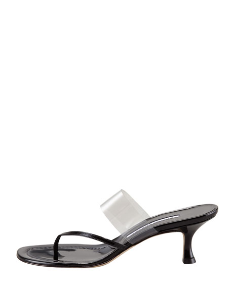 Gheniaba Patent Thong Slide, Black