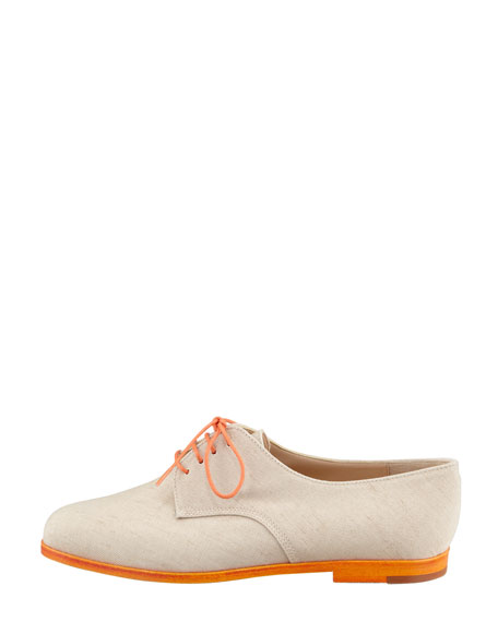 Intha Linen Lace-Up Oxford, Natural/Orange
