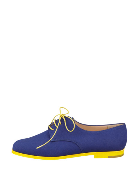 Intha Linen Lace-Up Oxford, Navy/Yellow