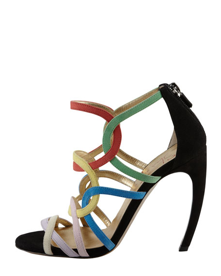 Circle-Strappy Suede Sandal, Multicolor