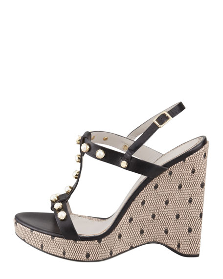 Jeweled T-Strap Wedge Sandal