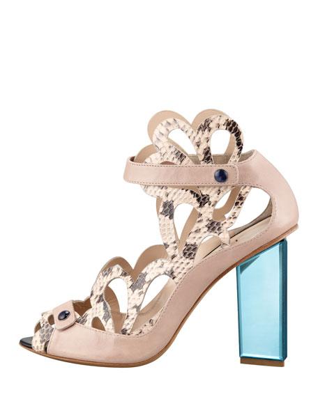 Scalloped Snakeskin Sandal