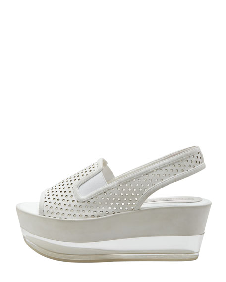Perforated Leather Lucite Flatform Sandal