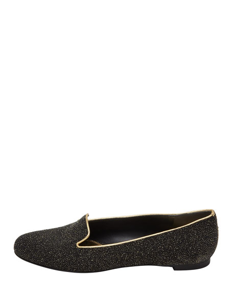 Crystalized Smoking Slipper, Black/Gold