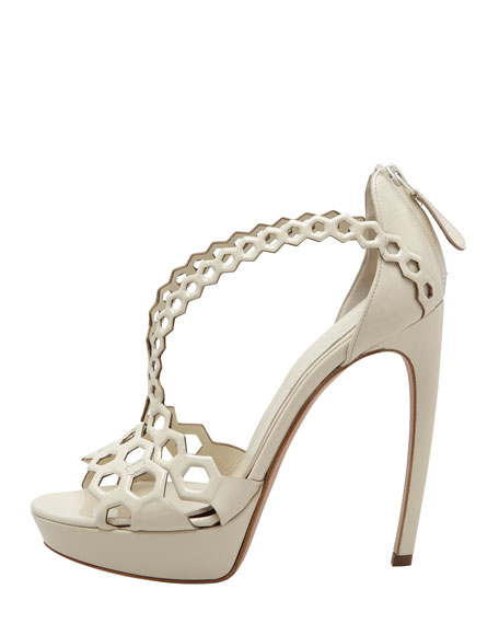 High-Heel Double-Arched Honeycomb Patent Leather Sandal, Ivory