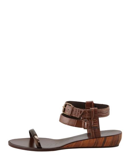 Crocodile-Embossed Mini Wedge Sandal