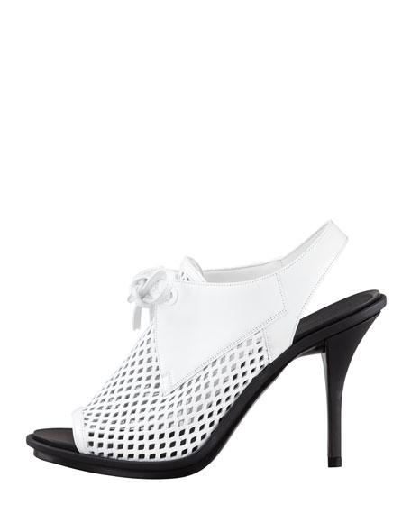 Leather Mesh Glove Slingback Sandal, White