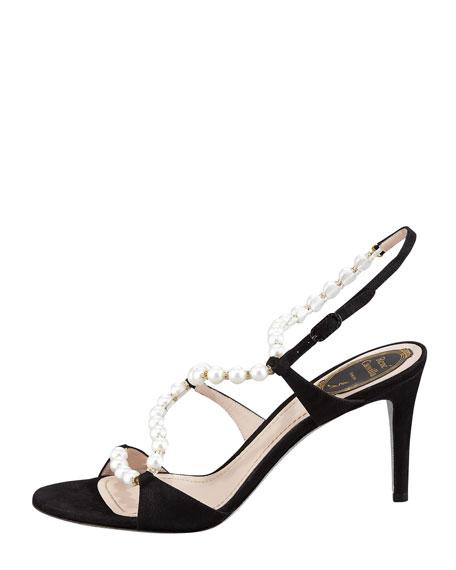Twisting-Strap Pearl Sandal