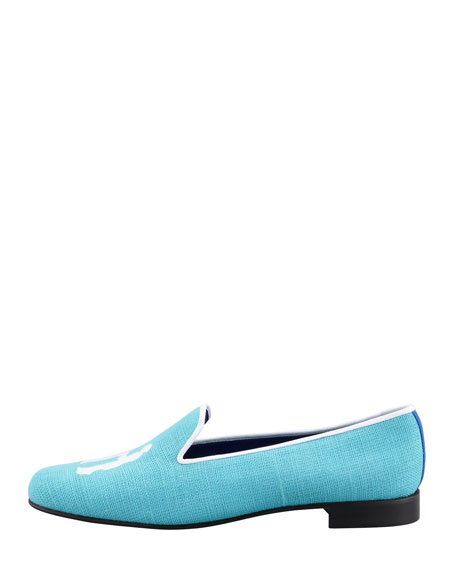 Audrey Linen Smoking Loafer, Turquoise/White