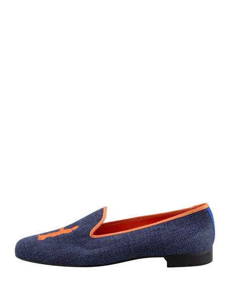 Audrey Linen Smoking Loafer, Navy/Orange