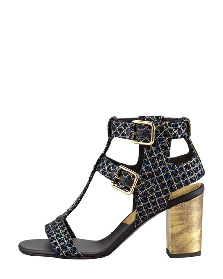 Diane Metallic Suede Buckled-Ankle Sandal