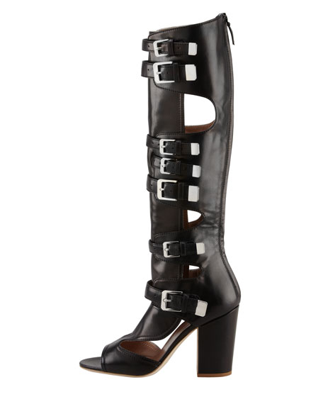 Dolene Multi-Buckle Knee Boot, Black