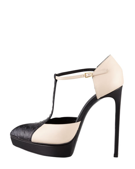 Janis Python T-Strap d'Orsay, Nude/Black