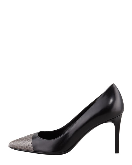 Paris Python Cap-Toe Pump, Black/Earth