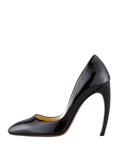 Bowed-Heel Patent Leather Pump, Black