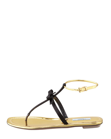 Satin Bow Thong Sandal