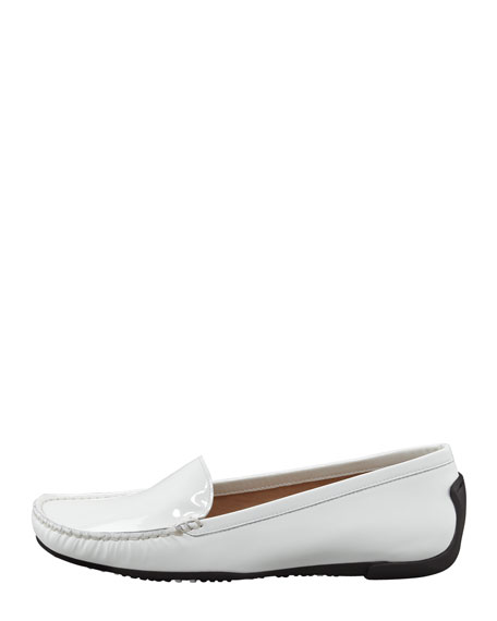 Mach 1 Patent Leather Driver Moccasin, White
