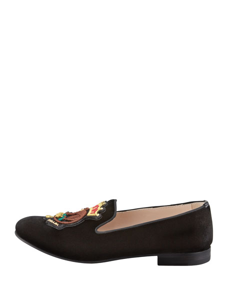Velvet Monkey-Embroidered Smoking Slipper, Black