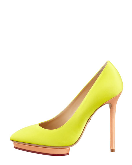 Debonaire Heart-Platform Satin Pump, Yellow