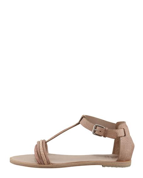 Monili Lizard T-Strap Sandal