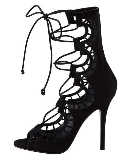Lace-Up Suede Gladiator High-Heel Sandal, Black