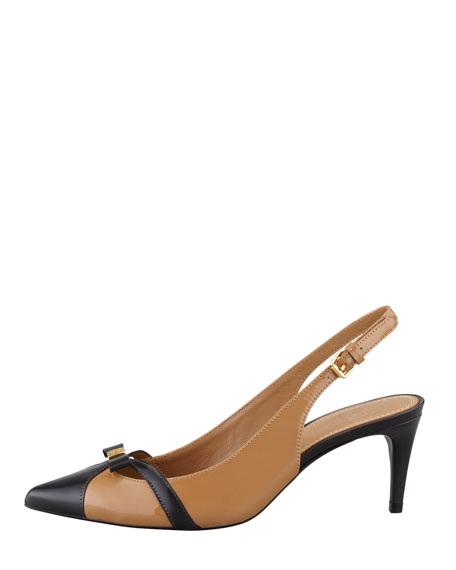 Samara Pointed-Toe Slingback Pump, Sand/Black