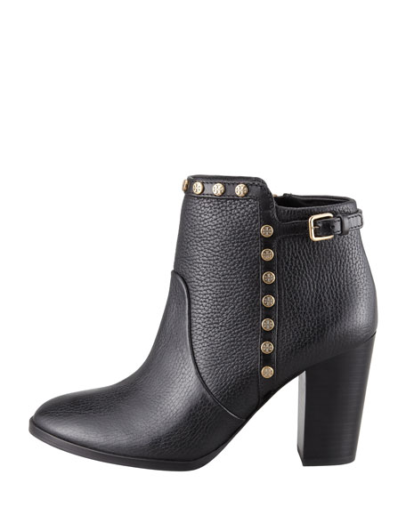 Mae Logo-Studded Ankle Boot, Black