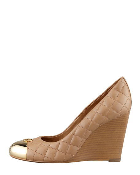 Kaitlin Quilted Cap-Toe Wedge, Clay Beige