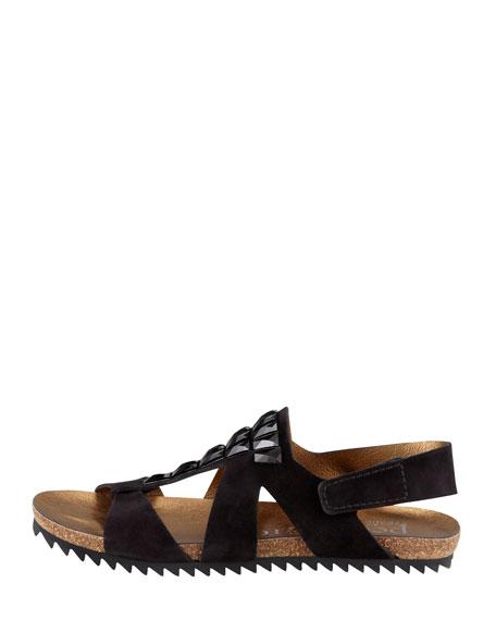 Verity Crystal-Embellished Suede Sandal