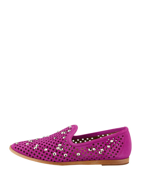 Yaden Perforated Crystal Smoking Slipper, Dahlia