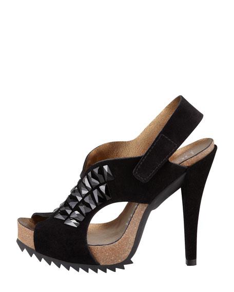 Catherine Crystal Embellished Suede Peep-Toe Sandal, Black