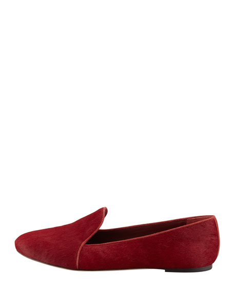 Claudelle Calf Hair Smoking Slipper, Red