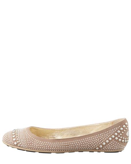 Welda Studded Ballerina Flat, Latte