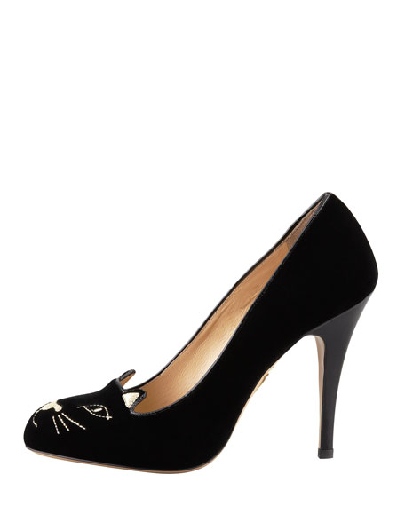 Kitty Cat-Embroidered Velvet Pump