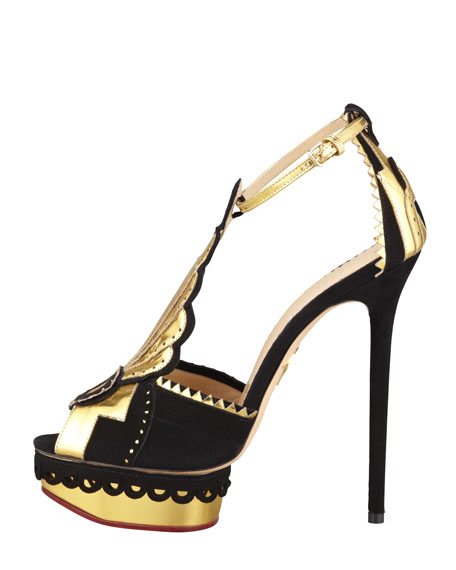 Sunset Art Deco T-Strap Sandal, Black/Gold