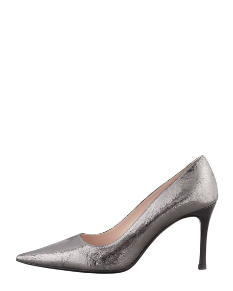 Crackled Metallic Vernice-Heel Pump