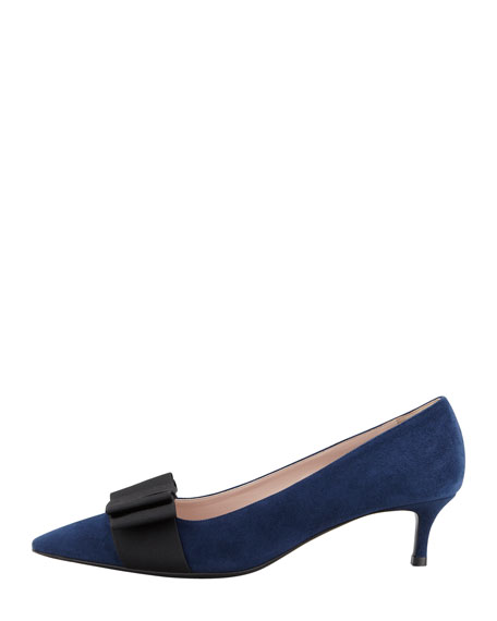 Suede Low-Heel Bow Pump