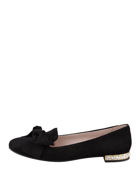 Jewel-Heel Suede Loafer