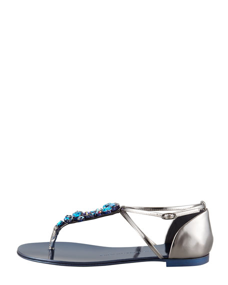 Jeweled Flat Thong Sandal, Blue