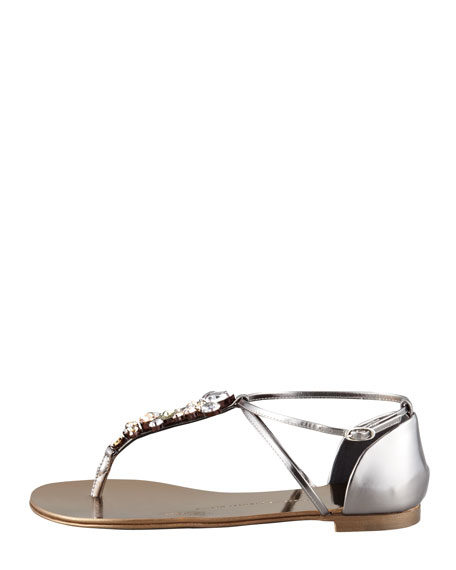 Jeweled Thong Sandal, Pewter