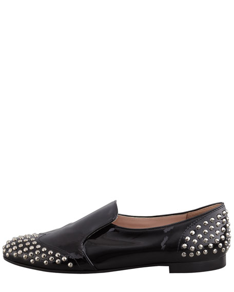 Stud-Detail Patent Loafer, Black