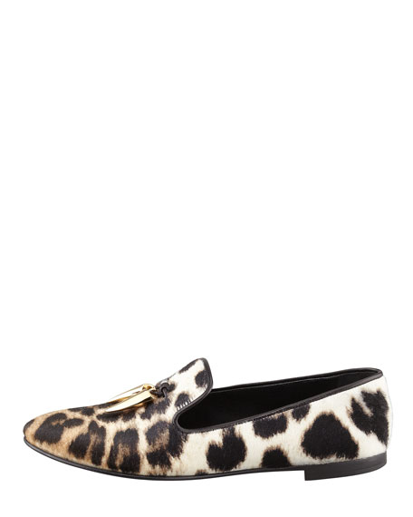 Leopard-Print Calf Hair Horn Tassel Smoking Slipper
