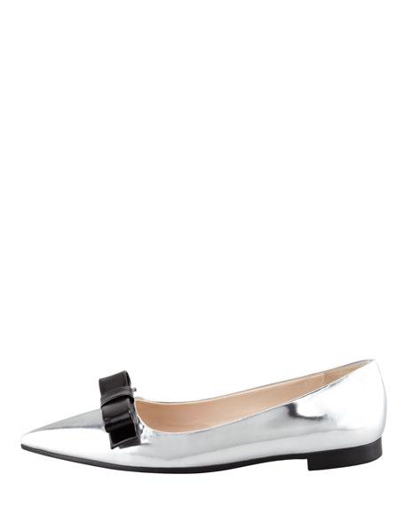 Metallic Pointed-Toe Flat, Silver/Black