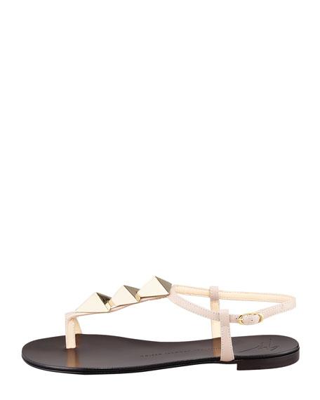Triangle-Stud Flat Thong Sandal, Nude
