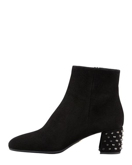 Suede Stud-Heel Ankle Boot