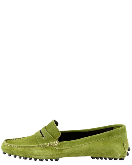Terry-Trimmed Suede Driver, Green