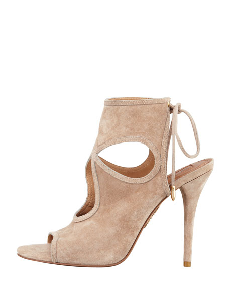 Sexy Thing Suede Cutout Sandal, Nude