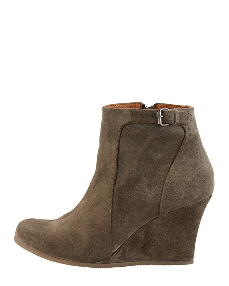 Suede Wedge Ankle Boot, Gray