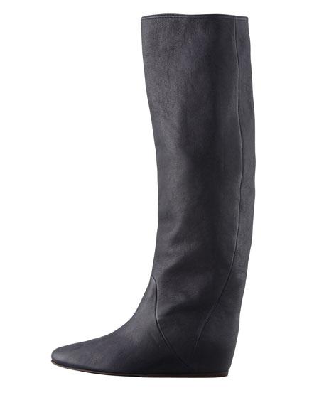 Leather Wedge Knee Boot, Dark Black
