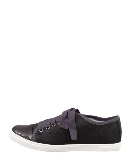 Snake-Cap-Toe Leather Sneaker, Black